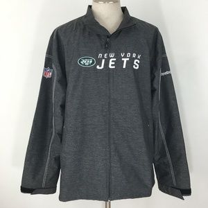 New York Jets Mens Jacket Gray Full Zip Size Large